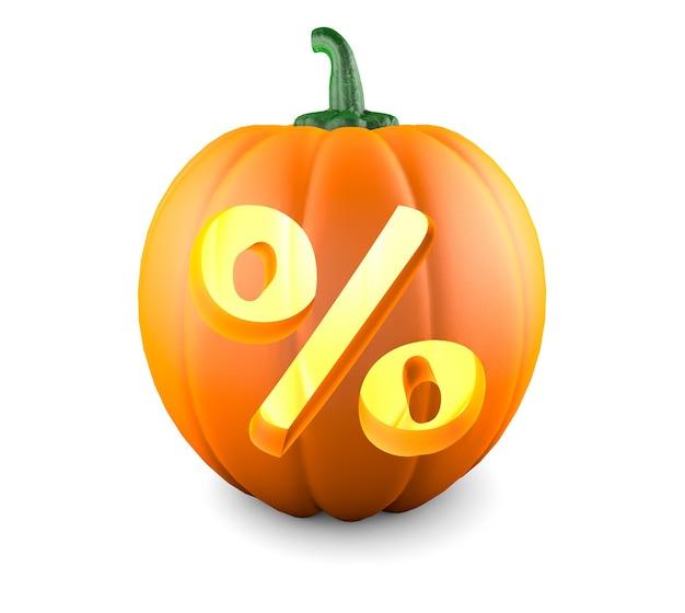 Pompoen voor halloween met uitgesneden procentsymbool geïsoleerd op een witte achtergrond 3d render