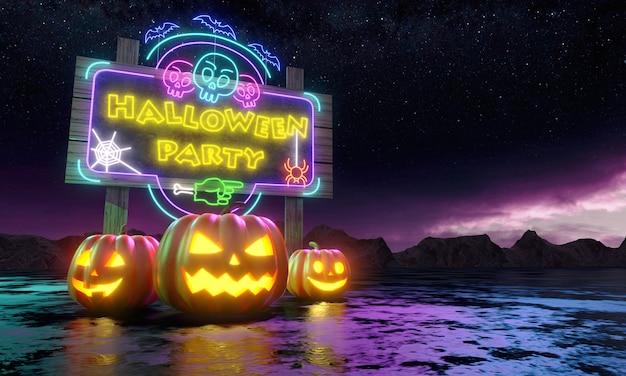 Pompoenen en billboard met glanzende neonlampen onder de nachtsterren. happy halloween wenskaart. uitnodiging voor feestje banner. 3d-weergave