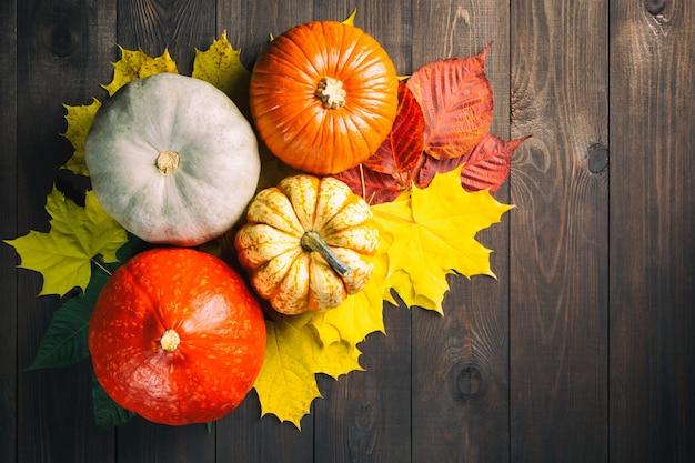 Pompoenen en kleurrijke bladeren op donkere houten tafel