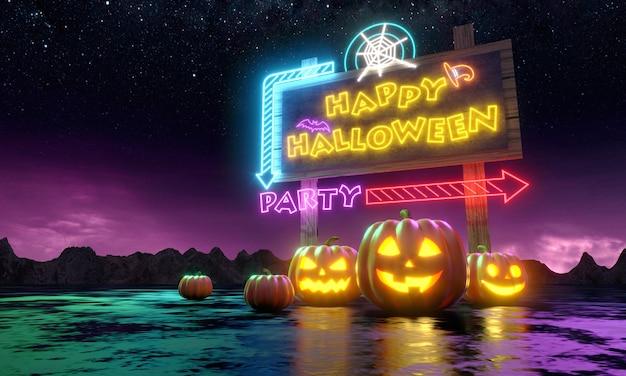 Pompoenen en neon banner met leuke uitnodiging voor feest