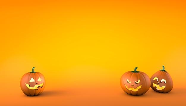 Pompoenen met een glimlach en een bang gezicht op een oranje achtergrond halloween kopieer ruimte voor tekst