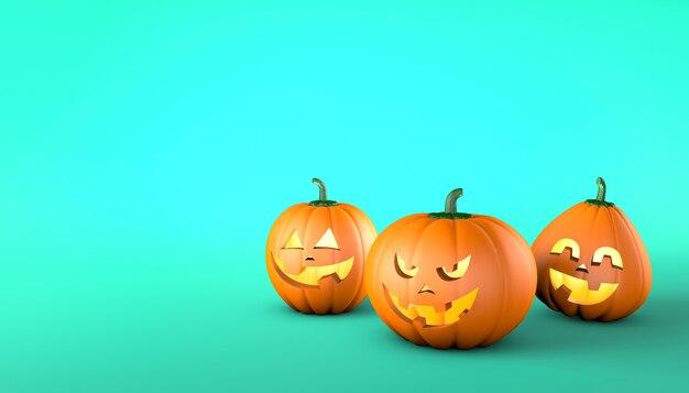 Pompoenen met lachende en vrolijke gezichten en met een kwaad gezicht op een groene achtergrond halloween