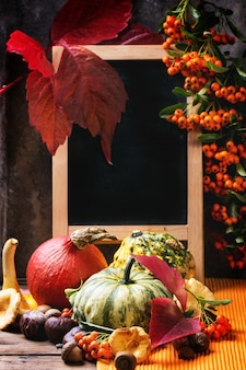 Pompoenen, noten en leeg bord