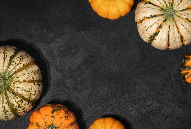 Pompoenen op zwarte tafel, thanksgiving day-achtergrond, festivalconcept, herfstoogst