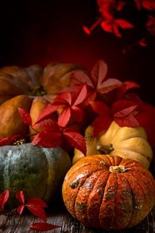 Pompoenen zijn neergelegd op een oude tafel en versierd met wilgenblaadjes, een close-up van herfstgroenten
