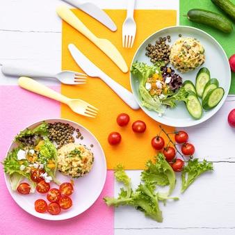 Pompoenrisotto, frisse salade lunch voor kinderen