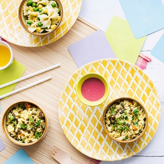 Pompoenrisotto kids food, met groene linzen