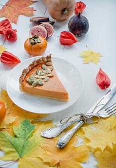 Pompoentaart. traditionele amerikaanse taart.