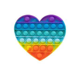 Pop it fidget toy rainbow hart geïsoleerd op een witte achtergrond