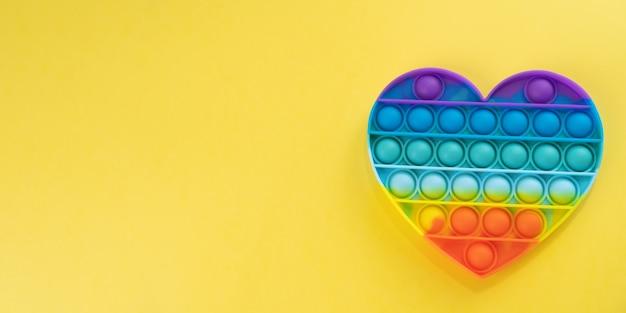 Pop it fidget toy rainbow hart push on pop bubble zintuiglijke fidget toys voor anxietystress relief