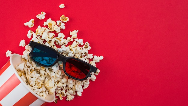 Popcorn achtergrond voor bioscoop concept