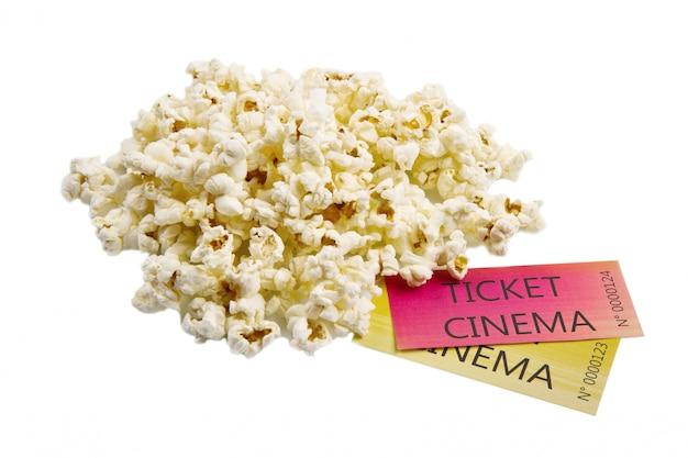 Popcorn en bioscoopkaartjes