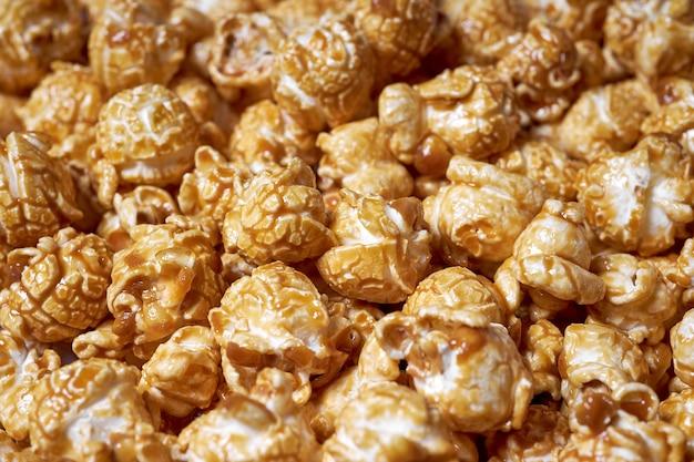 Popcorn met karamelclose-up