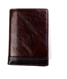 Portefeuille op witte achtergrond wordt geïsoleerd die