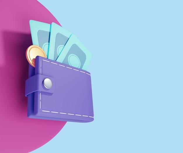 Portemonnee, dollarbiljet en munten, online betaling 3d illustratie