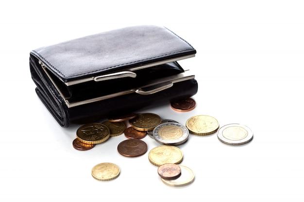 Portemonnee en euromunten