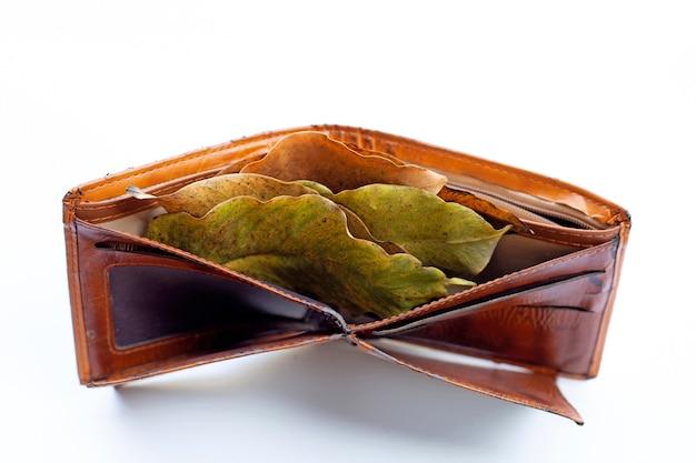 Portemonnee met droge bladeren