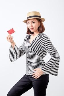 Portret aziatische jonge vrouw bedrijf