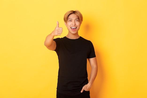 Portret dat van tevreden knappe aziatische kerel, thumbs-up in goedkeuring toont, die zich over gele muur bevindt