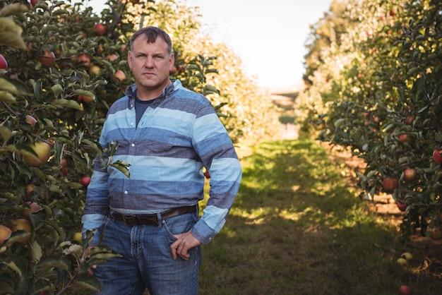 Portret die van landbouwer zich in appelboomgaard bevinden