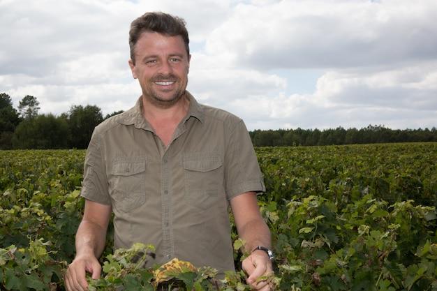 Portret die van wijnmaker zich bij familiewijngaard bevinden