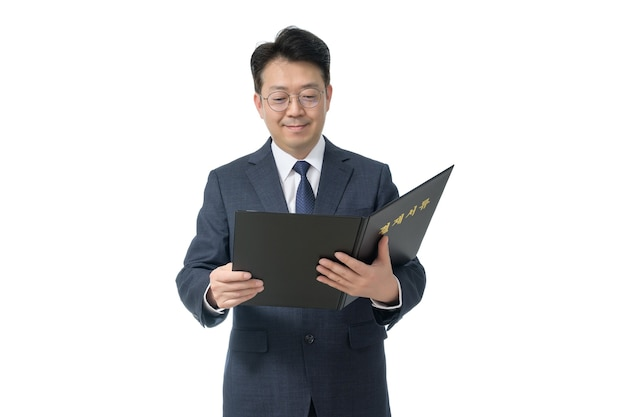 Portret expressieve man in pak