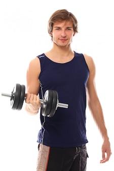 Portret jonge man met een halter