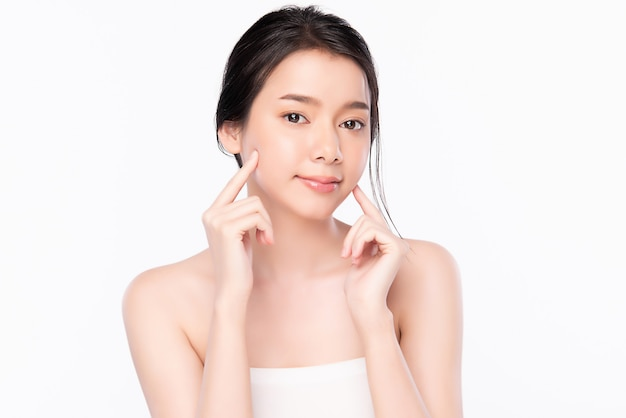 Portret mooi jong aziatisch vrouwen schoon vers naakt huidconcept. aziatisch meisje schoonheid gezicht huidverzorging en wellness, gezichtsbehandeling, perfecte huid, natuurlijke make-up, twee