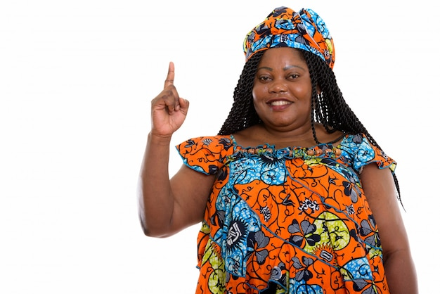 Portret van afrikaanse vrouw naar boven gericht