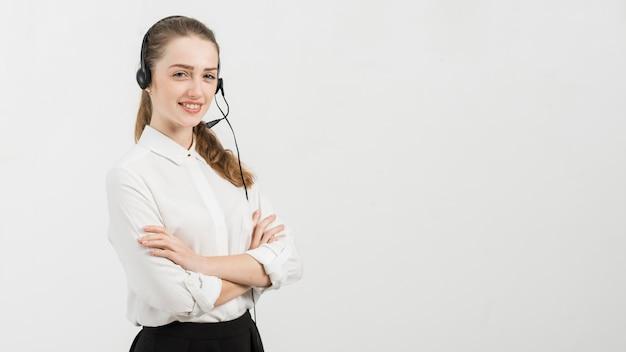 Portret van callcentervrouw
