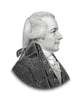 Portret van de amerikaanse president alexander hamilton geïsoleerd op witte achtergrond