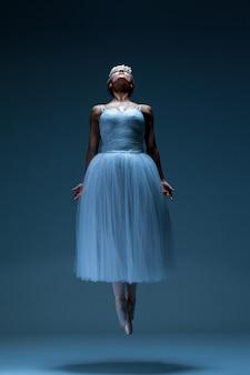 Portret van de ballerina op blauwe achtergrond