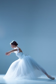 Portret van de ballerina op blauwe muur