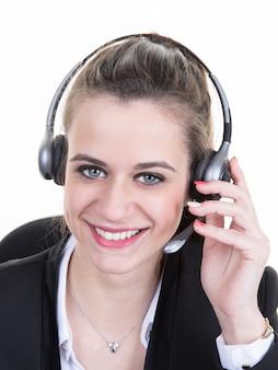Portret van de dienstarbeider van de vrouwenklant, call centre glimlachende exploitant