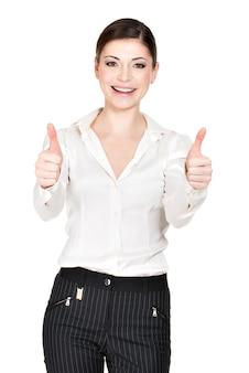 Portret van de gelukkige vrouw met duimen omhoog teken in wit kantooroverhemd -.