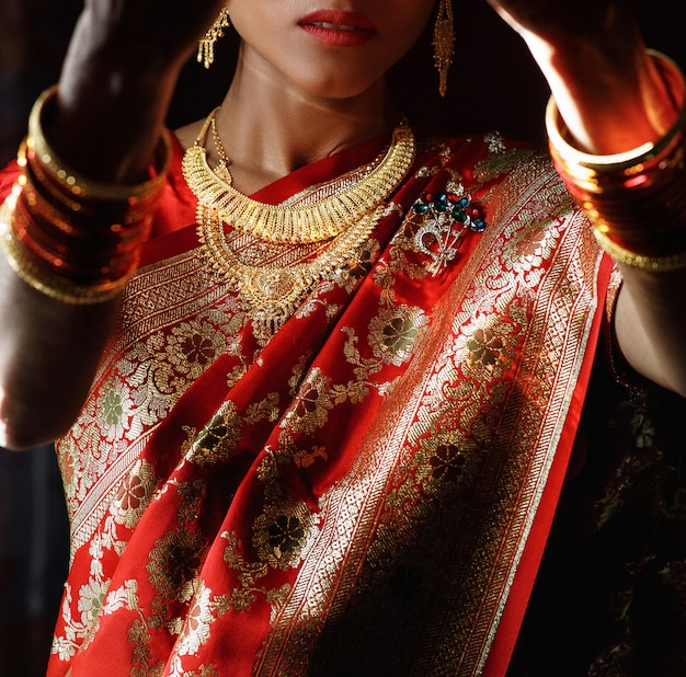 Portret van de hindoe-bruid in traditionele rode sari met gouden acce