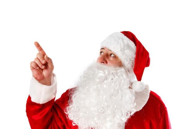 Portret van de kerstman op wit