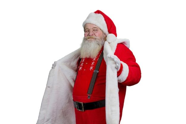 Portret van de kerstman op witte achtergrond.