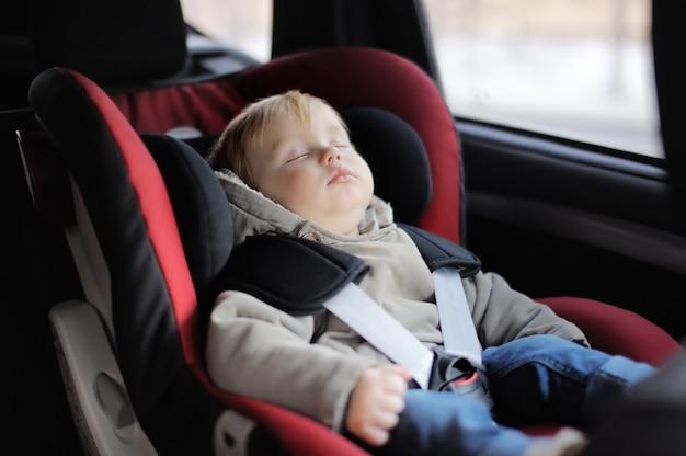Portret van de slaap van de peuterjongen in autozetel