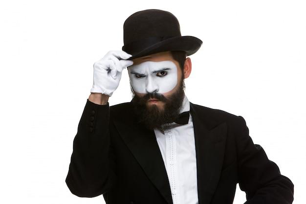 Portret van de verdachte mime