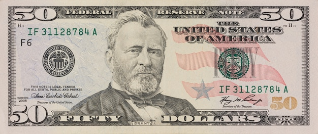 Portret van de voormalige amerikaanse president ulysses grant. macro vanaf 50 dollar