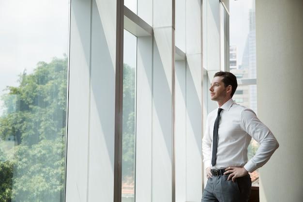 Portret van de zakenman bij venster 4