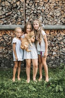 Portret van drie kleine mooie meisjes, zussen, in vrijetijdskleding, permanent samen op de achtergrond van gestapeld brandhout buitenshuis