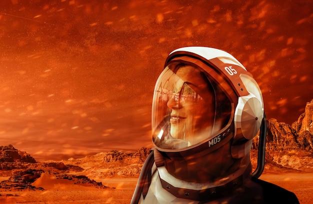 Portret van een astronaut op de planeet mars.
