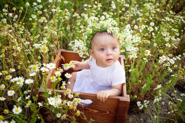 Portret van een babymeisje van 7 maanden oud zittend op een kamille veld in een krans in een witte jurk, een gezonde wandeling in de frisse lucht