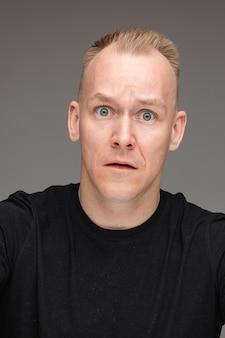 Portret van een bange blanke man met blauwe ogen wijd open, kijkend naar de camera en om hulp vragend. uitsnede op grijs.
