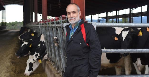 Portret van een boer met koeien