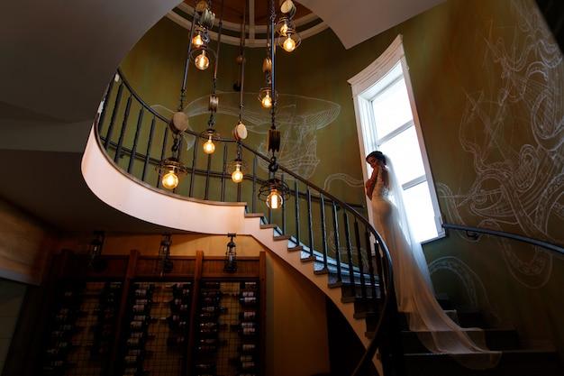 Portret van een bruid met een lange sluier in een mooi interieur