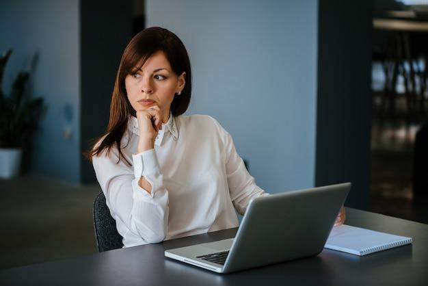 Portret van een ernstige vrouw op kantoor