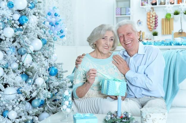 Portret van een gelukkig senior koppel dat zich thuis voorbereidt op kerstmis